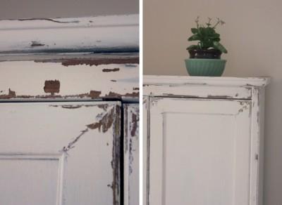 Avant apr s fini antique sur m lamine avec une peinture la craie fait maison - Peinture a la craie pour meuble ...