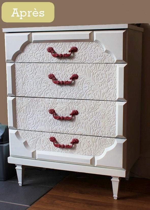 avant apr s transformer un meuble avec du papier peindre. Black Bedroom Furniture Sets. Home Design Ideas